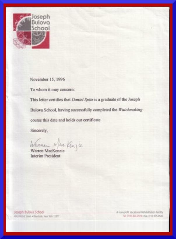 Dan Spitz 3 year Watchmaker Bulova School Diploma