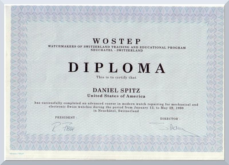 Dan Spitz WOSTEP Neuchatel, Switzerland diploma