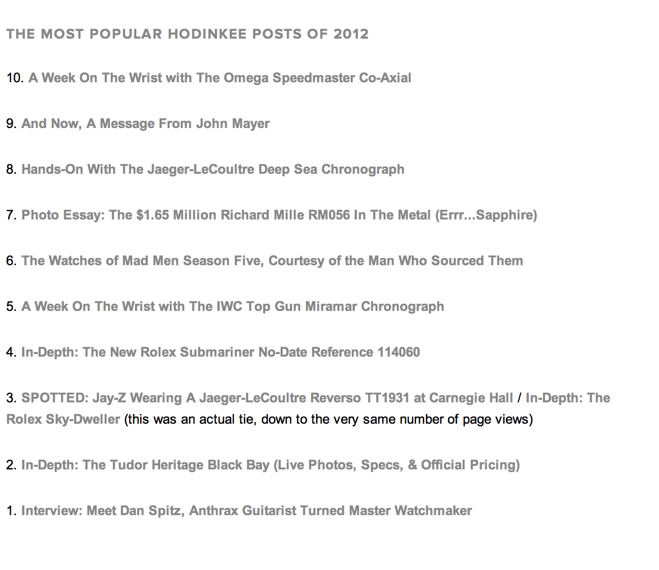 Top 10 HODINKEE posts 2012
