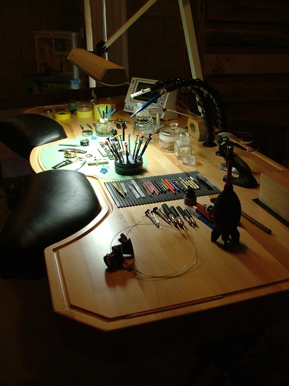 Official Site Of Dan Spitz: watchmakers bench